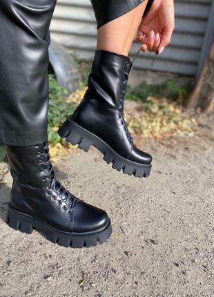 Берцы ботинки на шнуровке женские высокие
