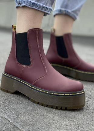 Кожные ботинки на платформе челси с резинками (dr.mertens)