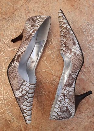 Стильные, уникальные туфли с удлиненным носком, рептилия, пито...