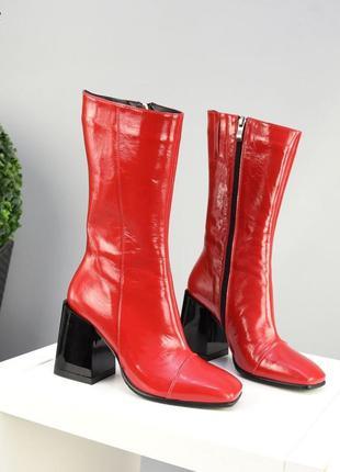 ❤ женские красные кожаные зимние ботинки ботильоны полусапожки  ❤