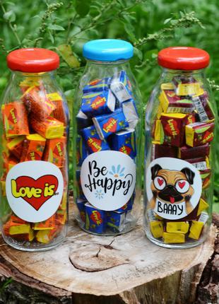 Бутылочка LOVE IS. Подарочные бутылки со сладостями