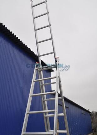 Лестница-стремянка 6 метров фирменная 3x7 ступеней KRAFT GERMANY