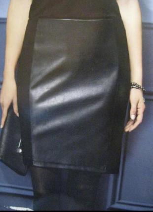 Классная юбка карандаш с кожаной вставкой esmara