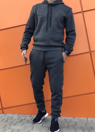 Тёплый спортивный костюм на флисе штаны и худи/толстовка. с-2х...