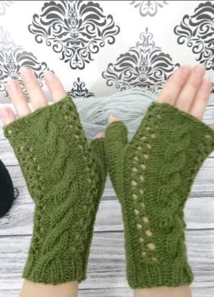 Перчатки без пальцев - Митенки женские - Вязаные варежки