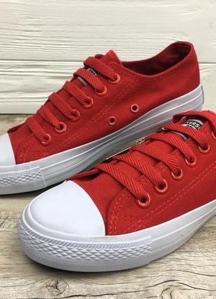 Кеды красные с белым низкие (красно - белые) / кеди червоні з ...