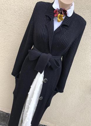 Длинный,шерстяной кардиган в рубчик,вязаное пальто