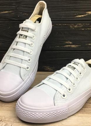Кеды белые (бело - бирюзовые) низкие / кеди білі (біло - бірюз...