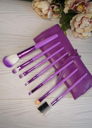 7 шт кисти для макияжа набор в футляре violet probeauty
