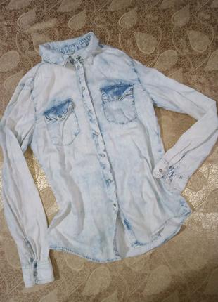 Рубашка джинсовая из тонкого джинса denim co, р.44-46, s, 10