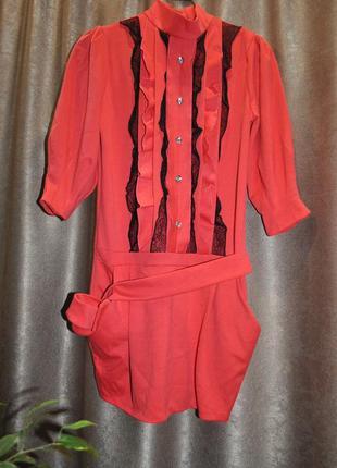 Платье коралловое нарядное теплое карманы 44 м плотное модное