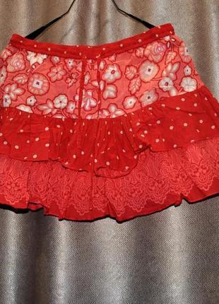 Юбка красная индия new look 44 s m коттон летняя воздушная