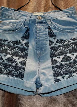 Шорты высокая посадка крутые ажурные джинсовые голубые бренд xs