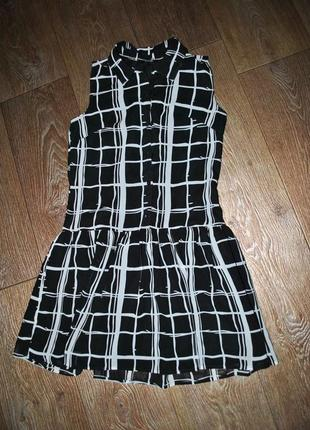 Платье george стильное  черно белое клетка летнее модное пышное