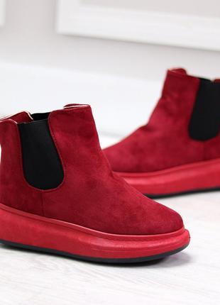 Бордовые зимние полусапоги ботинки на меху. 36-41