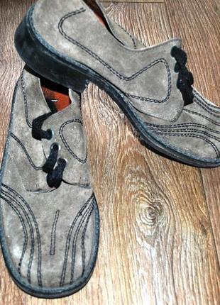 Туфли осенние серые натуральная кожа замш замшеые кожаные 41