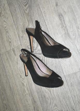 Туфли открытые босоножки next 38 замшевые черные натуральные