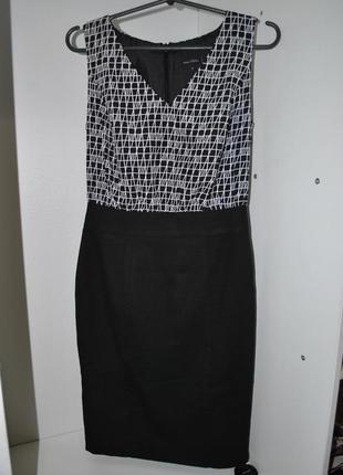 Платье next 6 офисное черно белое классика строгое xs-s