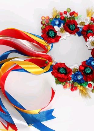 Обруч ободок венок украинский с лентами