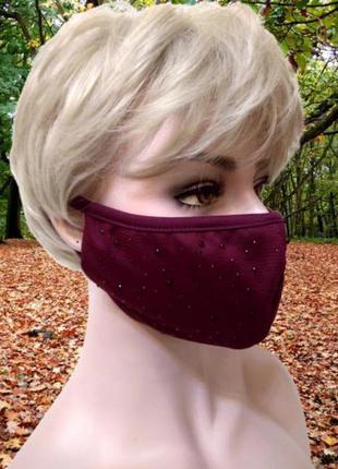 Бордовая маска с мелкими кристаллами, двухслойная