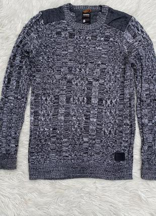 Тёплый вязаный свитер в косы раз.s