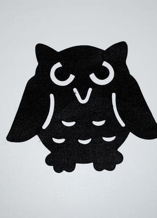 Декор на хэллоуин большая сова из черного фетра хеллоуин
