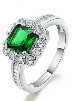 Стильное кольцо с бирюзовым камнем покрытие белого золота с фи...