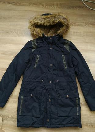 Теплая парка удлиненная куртка пальто