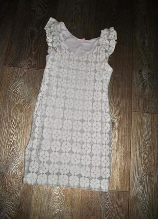Платье бежевое пастельное ажурное гипюровое красивое нарядное ...