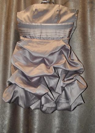 Платье бежевое серое шикарное  нарядное пышное на танцы выступ...