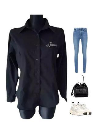 Guess винтажная черная рубашка блуза натуральная сорочка р.48 ...