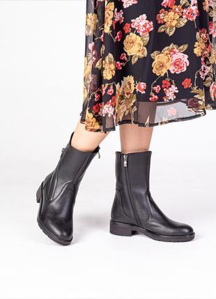 Стильные женские натуральная кожа ботинки полусапожки