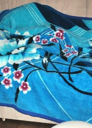 Покрывало 3х2 м акриловое толстое яркое насыщенное синее цвето...