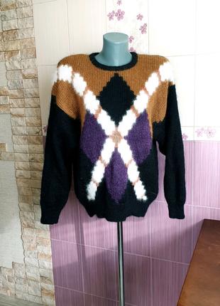 Вязаный объемный мохеровый свитер в орнамеет c&a