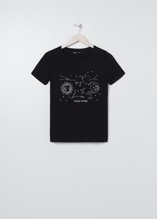 Новая черная футболка прямой крой солнце луна звезды космос на...