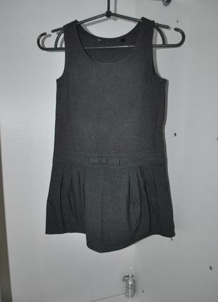 Платье 6-7 лет сарафан на девочку школьный повседневный серый