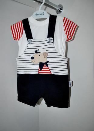Комплект на мальчика новый боди шорты и футболка