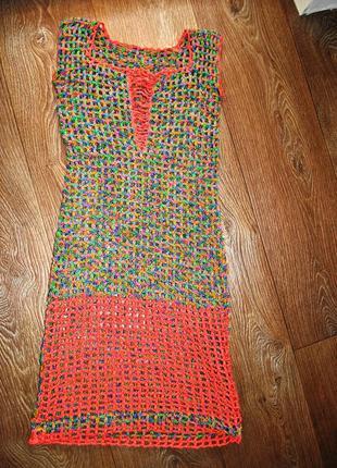 Платье туника вязаное сетка ручная работа яркое