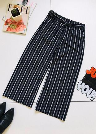 Трендовые крутые брюки в полоску кюлоты с поясом