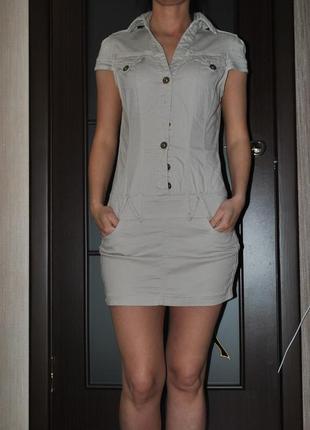 Платье jane джинсовое бежевое песочного цвета
