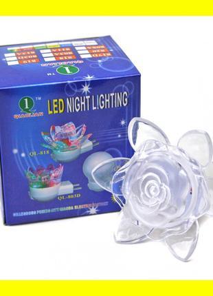 LED Ночник светодиодный от сети роза (экономный светильник)