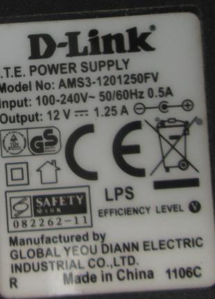 Блок питания DC Adapter D-Link 12V 1,25A mod AMS3-1201250FV
