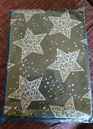 Полуторное постельное белье серое со звездами