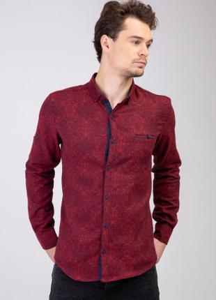 Мужская рубашка утепленная бордовая с узором