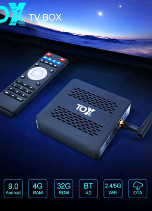 ⫸Smart TV Tox1 4GB/32ГБ Amlogic s905x3 Android Box смарт ТВ бокс