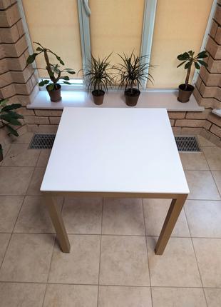 Стол кухонный, обеденный 70*70 из искусственного камня и мат. алю