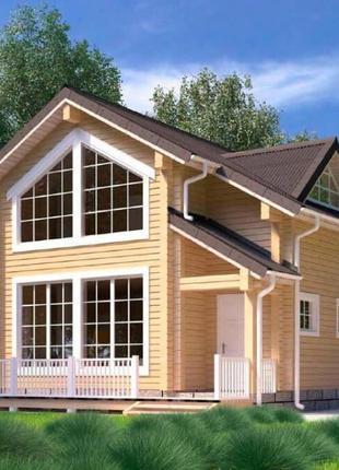Дом из бруса, коттедж экологичный, архитектурный проект котеджа