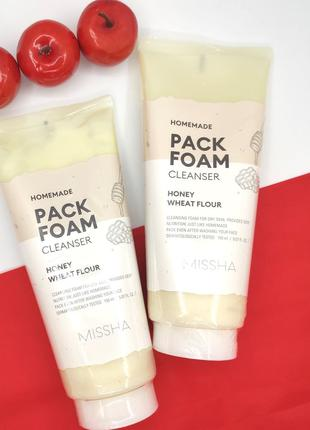 Маска-пенка Missha Homemade Pack Foam Cleanser (Wheat Flour Honey