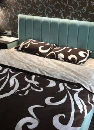 Евро комплект постельного белья. шоколадный вензель