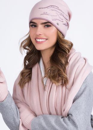 Двухцветная шерстяная  женская шапка-бандана Рита(Rita) ТМ Kamea